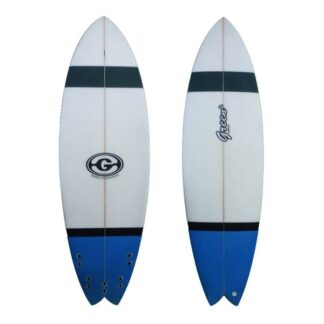 Green Surfboard Fish Blue Grey Black