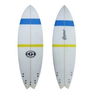 Green Surfboard Fish Blue Yellow