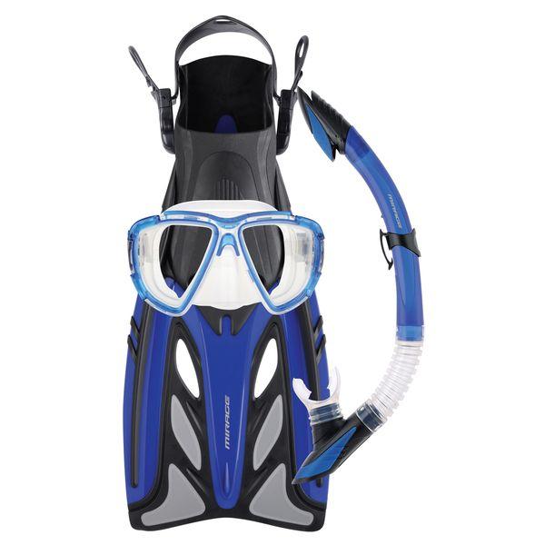 Mirage Crystal Gold Mask Snorkel Fins Set