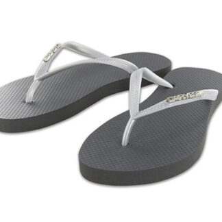 Carve Metalic Badge Ladies Thongs Silver