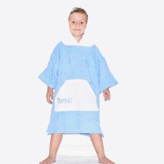 Amigo Poncho Toddler Microfiber Blue White Pocket