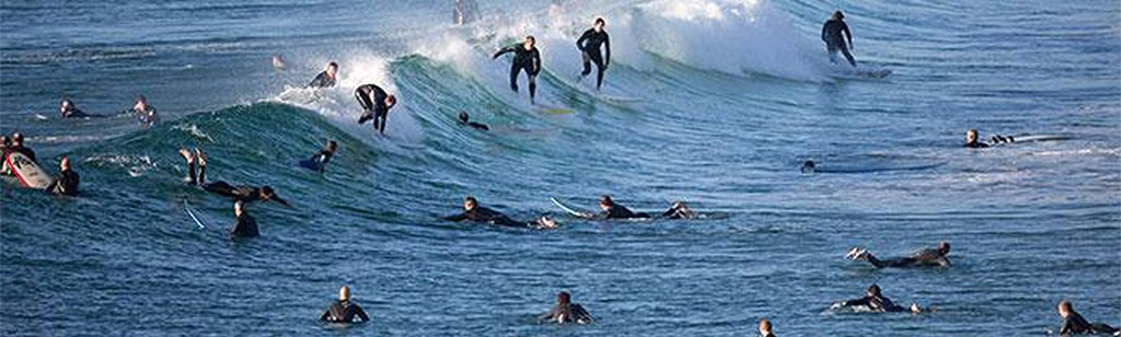 A Winter Wetsuit Crowded Surf