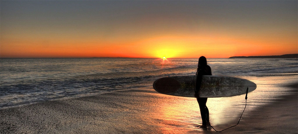 Surfing Longboard Sunrise