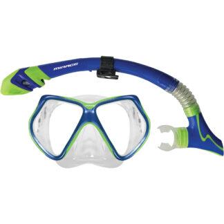 Mirage Adult Bermuda Dry Mask and Snorkel Set- Blue Green
