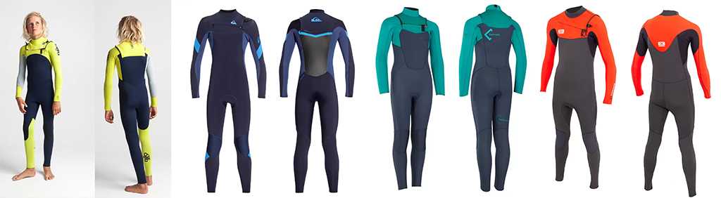 Kids-Wetsuits-C-Skins-Sessions-4-3mm-Junior-Chest-Zip-Wetsuit-Steamer-and-Quiksilver-Boys-Syncro-Series-3-2mm-Chest-Zip-GBS-Steamer-Wetsuit-and-ION-Capture-Kids-Wetsuit-Semidry-Steamer-3-2mm-and-Ocean-&-Earth-Boys-Free-Flex-Steamer-3-2mm