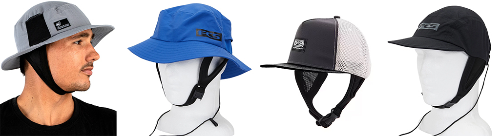Surf-Accessories-Creatures-of-Leisure-SURF-BUCKET-HAT-and-FCS-ESSENTIAL-SURF-BUCKET-HAT-and-Ocean-Earth-Kuta-Mesh-Surf-Cap-and-FCS-ESSENTIAL-SURF-CAP