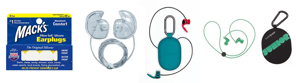 Surf-Accessories-Macks-Pillow-Soft-Silicon-Ear-Plugs-and-Docs-Pro-Plugs-Vented-W-Leash-andSurfEars-3.0-and-Surf-Ears-Surf-Junior